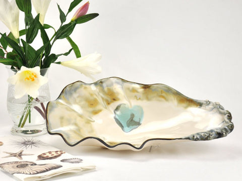 Pottery Oyster Shell Bowl Large