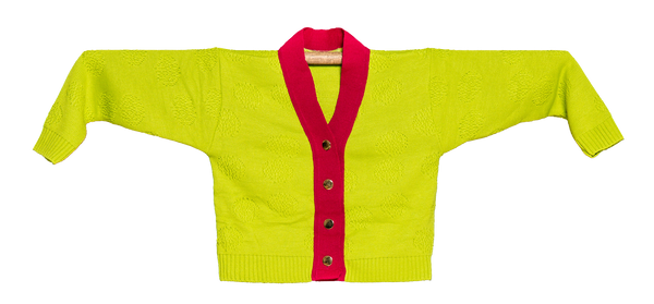 "KNITTED MINI CARDIGAN ""ORQUÍDEA VERDE"""