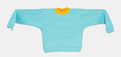 "KNITTED MINI SWEATER ""ORQUÍDEA AZUL"""