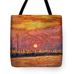 Tote Bags - Sunset Pier - Trieste, Italy