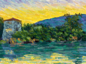 Butrint Tower at Dusk - Original Limited Edition Landscape Painting