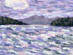 Ksamil in Lavender and Green - Original Limited Edition Landscape Painting