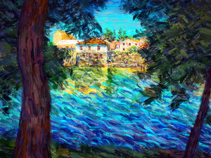 Old Town Trebinje through the Trees - Original Limited Edition Landscape Painting