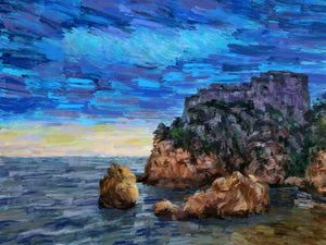 Purple Fortress on the Cliff, Dubrovnik, Croatia - Original Limited Edition Landscape Painting
