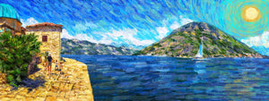 Sailboat Near Lady of the Rocks, Montenegro - Original Limited Edition Landscape Painting