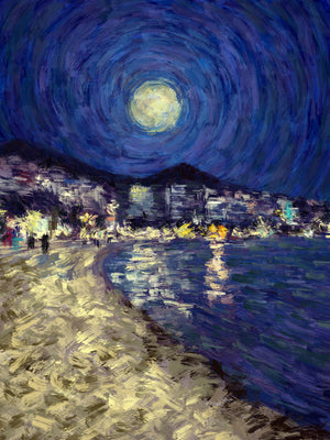 Saranda by Moonlight - Original Limited Edition Landscape Painting