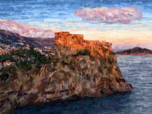 Sunlit Fortress Overlooking the Sea, Dubrovnik - Original Limited Edition Landscape Painting