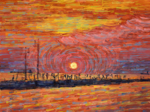 Sunset Pier - Trieste, Italy - Original Limited Edition Landscape Painting