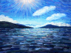 Sunstar Over Kotor Bay - Original Limited Edition Landscape Painting