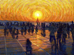 Watching the Sunset in Zadar, Croatia - Original Limited Edition Landscape Painting