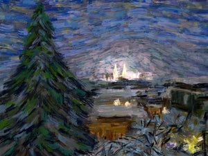 Winter Church Towers, Sarajevo - Original Limited Edition Landscape Painting