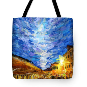 Tote Bags - Blue Clouds Above Old Town Herceg Novi