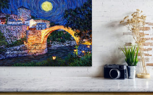 Full Moon Over the Old Bridge, Mostar - Original Limited Edition Landscape Painting