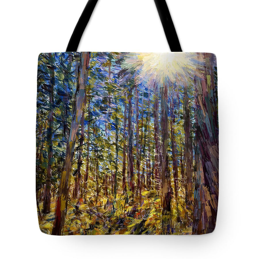Tote Bags - Sunstar through the Trees, Sarajevo