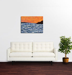 Sunset, Ksamil Islands, Albania - Original Limited Edition Landscape Painting
