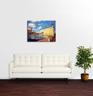 Yellow Building, Old Town Split - Original Limited Edition Landscape Painting