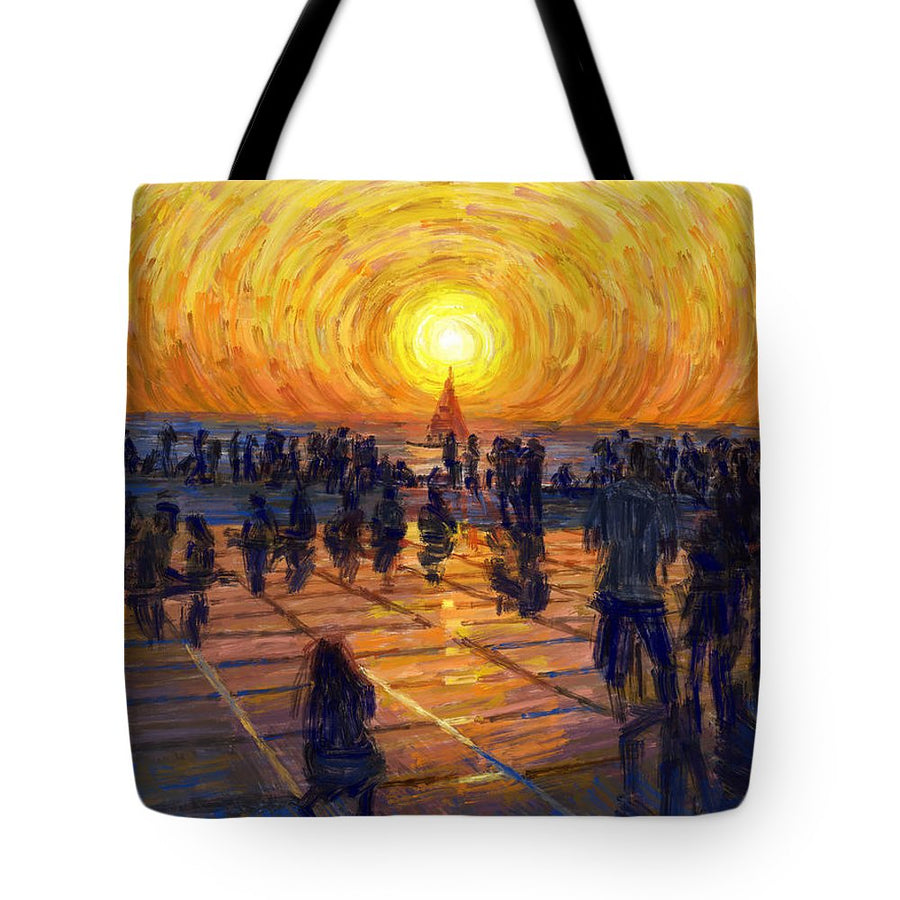 Tote Bags - Watching the Sunset in Zadar, Croatia