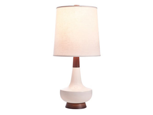Alberta Lamp, White + Walnut - Caravan Pacific - Modern Anthology