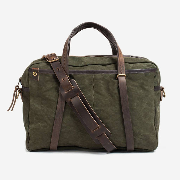 Bleu de Chauffe - Report Business Canvas Bag Dark Khaki - Personal Accessories - Bag - Messenger - Modern Anthology-
