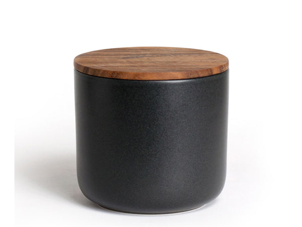 Be Home - Stoneware Container with Acacia Lid Large Black - Modern Anthology