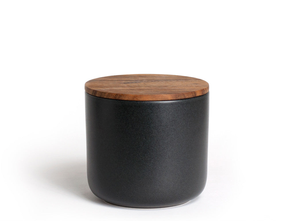Be Home - Stoneware Container with Acacia Lid Medium Black - Modern Anthology