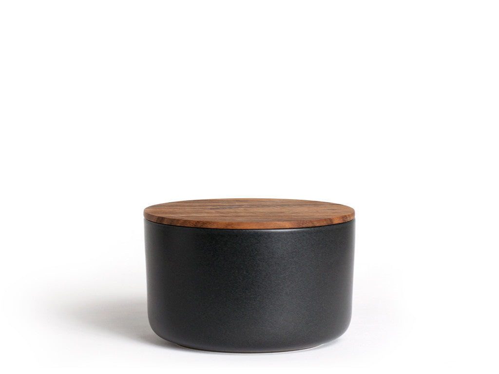 Be Home - Stoneware Container with Acacia Lid XSmall Black - Habitat - Office - Office AccessoryTool - Modern Anthology-