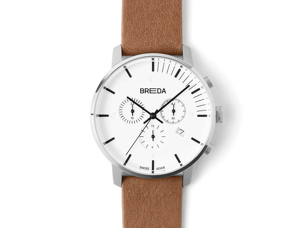 Breda - Breda Phase Chronograph White Brown - PERSONAL ACCESSORIES - Watch - Analog Watch - Modern Anthology-