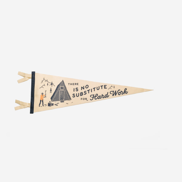 Oxford Pennant - Oxford Pennant No Substitute Hard Work Pennant - Habitat - Decor - Artwork Wall Hanging - Modern Anthology-