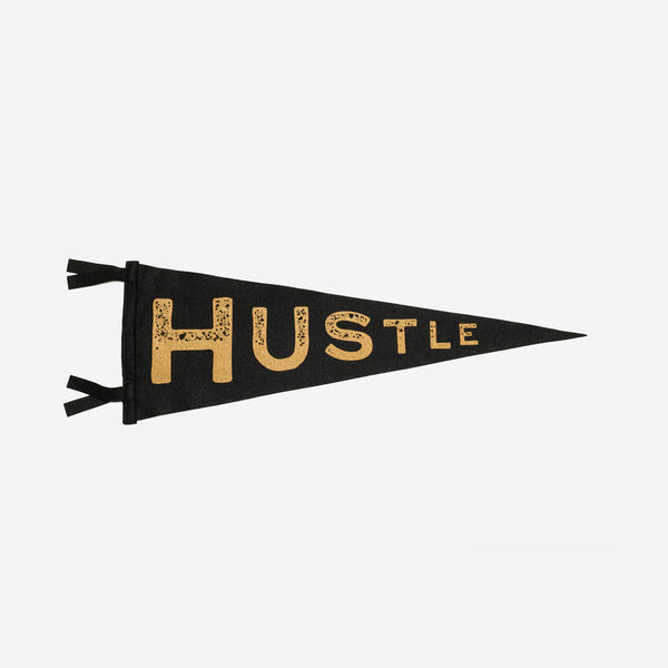 Oxford Pennant - Oxford Pennant Hustle Black Gold Pennant - Habitat - Decor - Artwork Wall Hanging - Modern Anthology-