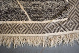 "OUIVE - Black and White Contemporary Moroccan Wool Rug Pile / Flat Weave 9'8"" x 6'6"" ft - Home - Decor - Rug - Modern Anthology-"