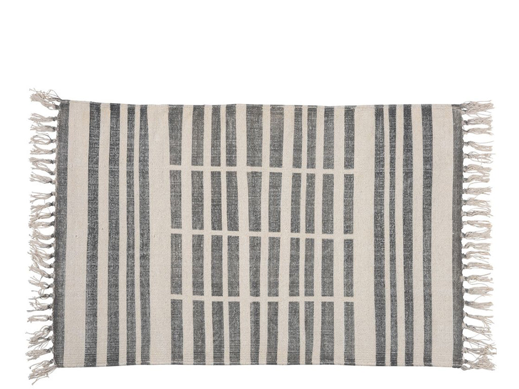 HOMART - Block Print Rug Broken Stripe Cotton - Home - Decor - Rug - Modern Anthology-