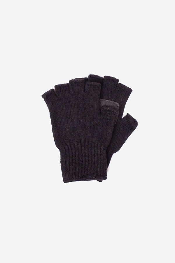 Wool Leather Fingerless Gloves Black