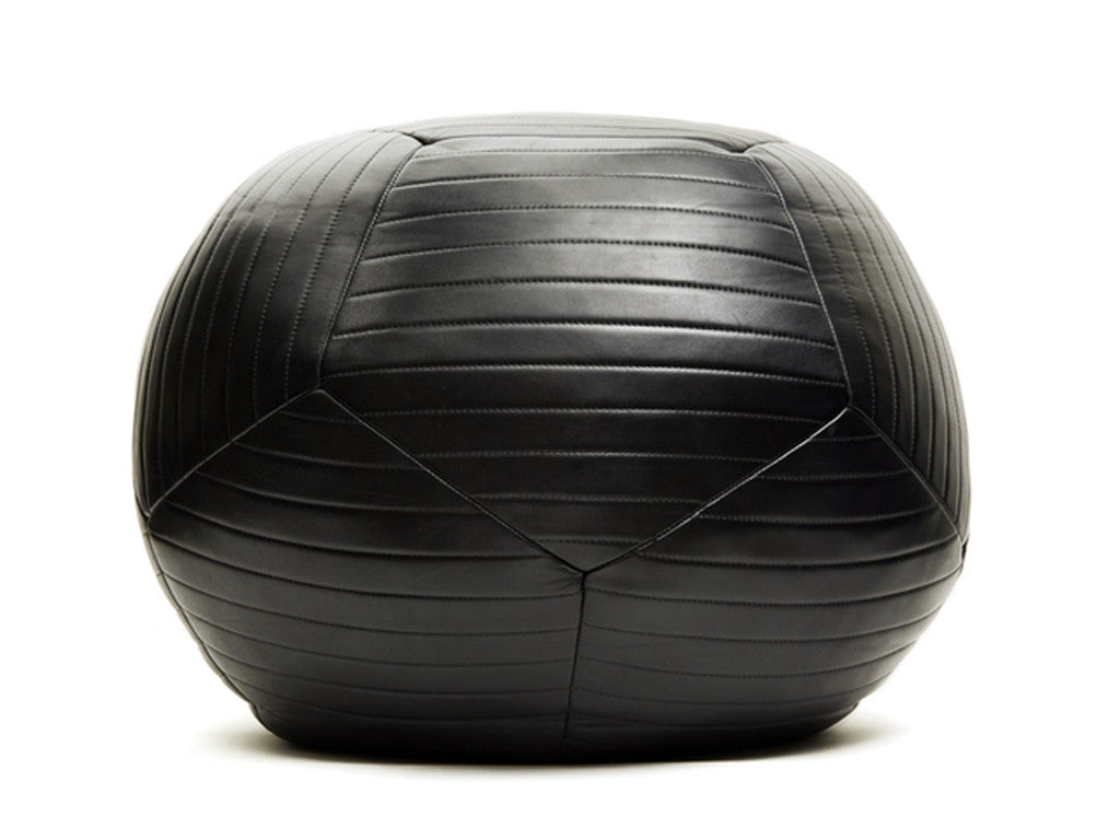 Leather Sphere Ottoman Black - MOSES NADEL - Modern Anthology