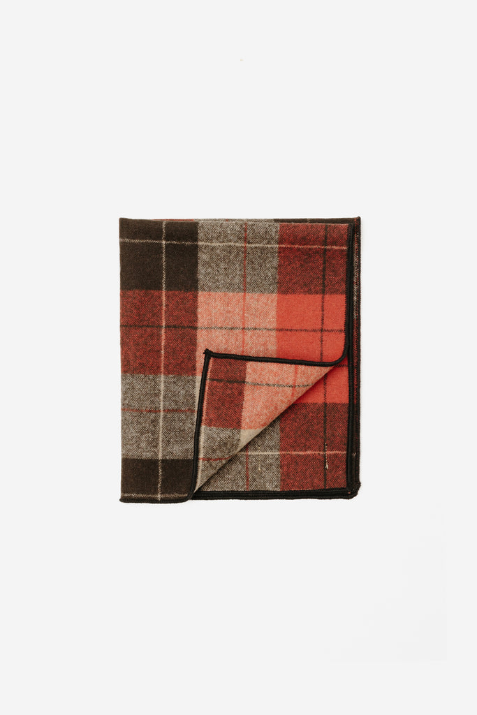 Soof Pocket Square, Red Tartan Wool