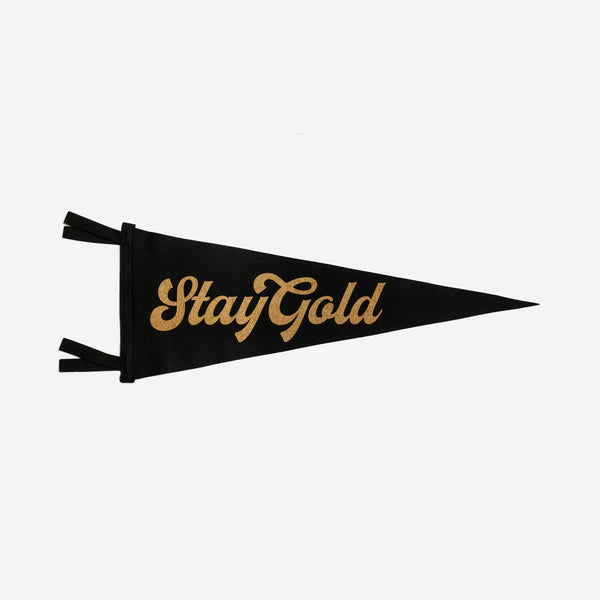 Oxford Pennant - Oxford Pennant Stay Gold Pennant - Habitat - Decor - Artwork Wall Hanging - Modern Anthology-