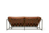 STEPHEN KENN - Two Seat Leather Sofa Tan Potomac Leather & Blackened Steel - FURNITURE - Sofa - Sofa - Modern Anthology-