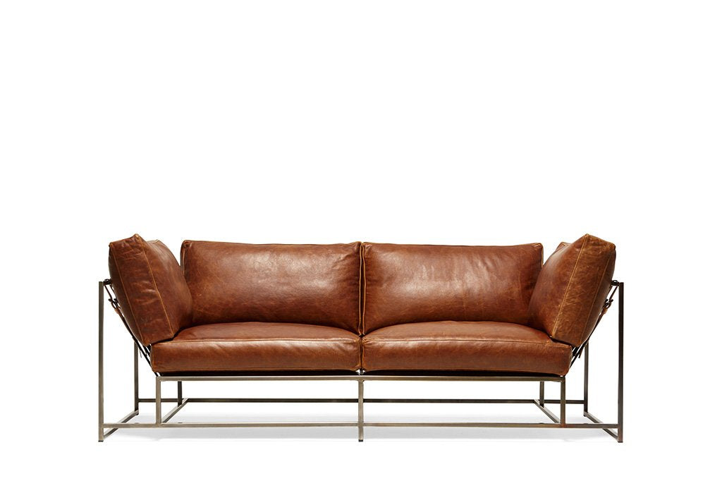 STEPHEN KENN - Two Seat Leather Sofa Potomac Leather & Antique Nickel - FURNITURE - Sofa - Sofa - Modern Anthology-