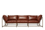 STEPHEN KENN - Sofa Walnut Leather & Antique Brass - FURNITURE - Sofa - Sofa - Modern Anthology-