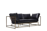 STEPHEN KENN - Two Seat Leather Sofa Indigo Leather & Brass - FURNITURE - Sofa - Sofa - Modern Anthology-