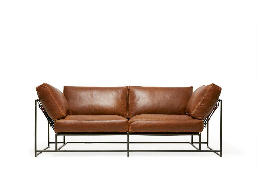Two Seat Leather Sofa Tan Potomac Leather U0026 Blackened Steel