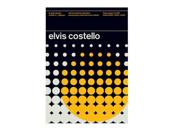 Swissted - Legends Series Elvis Costello 1979 Poster - Home - Decor - Artwork Print - Modern Anthology-