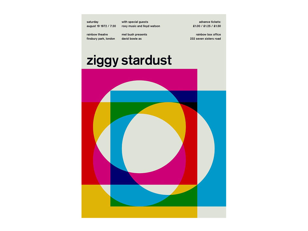 Swissted - Ziggy Stardust at Rainbow Theater poster - Habitat - Decor - Artwork Wall Hanging - Modern Anthology-
