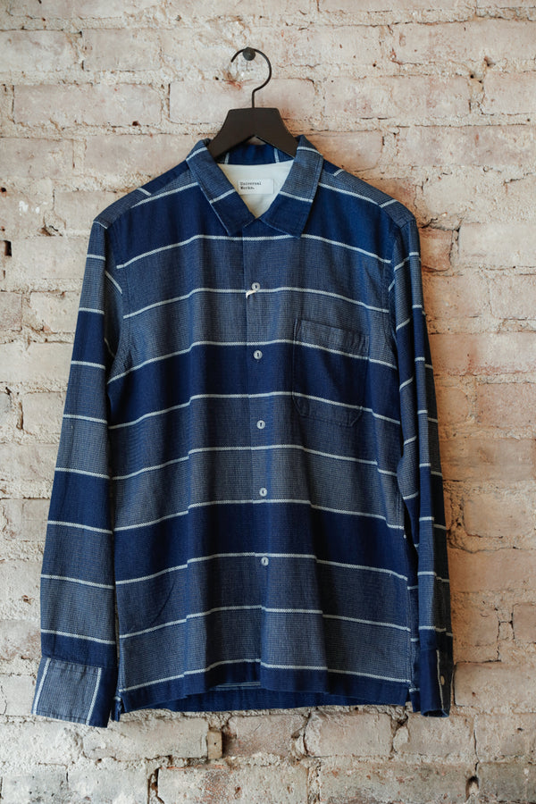 UNIVERSAL WORKS - UW Garage Shirt, Indigo Stripe - CLOTHING - Top - Long Sleeve Button Down Shirt - Modern Anthology-