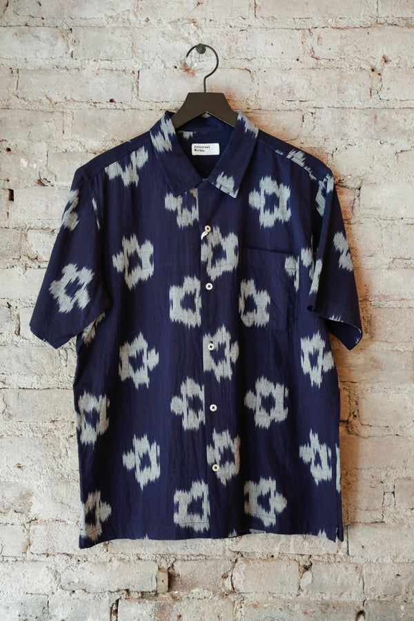 UNIVERSAL WORKS - UW Road Shirt, Indigo Flowers - CLOTHING - Top - Short Sleeve Shirt - Modern Anthology-