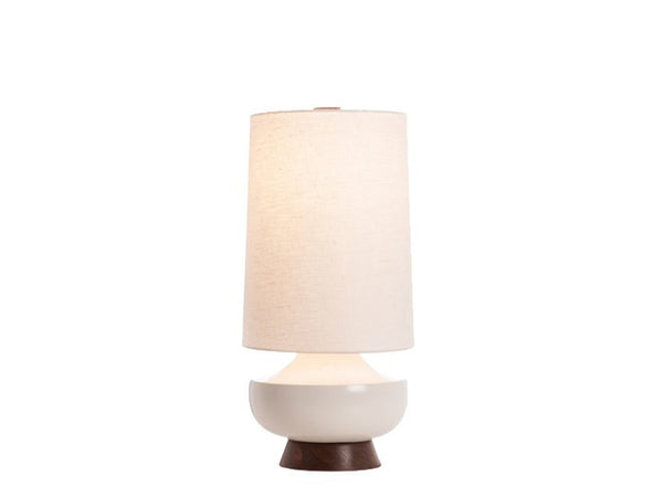 Vanderbilt Lamp, White + Walnut - Caravan Pacific - Modern Anthology