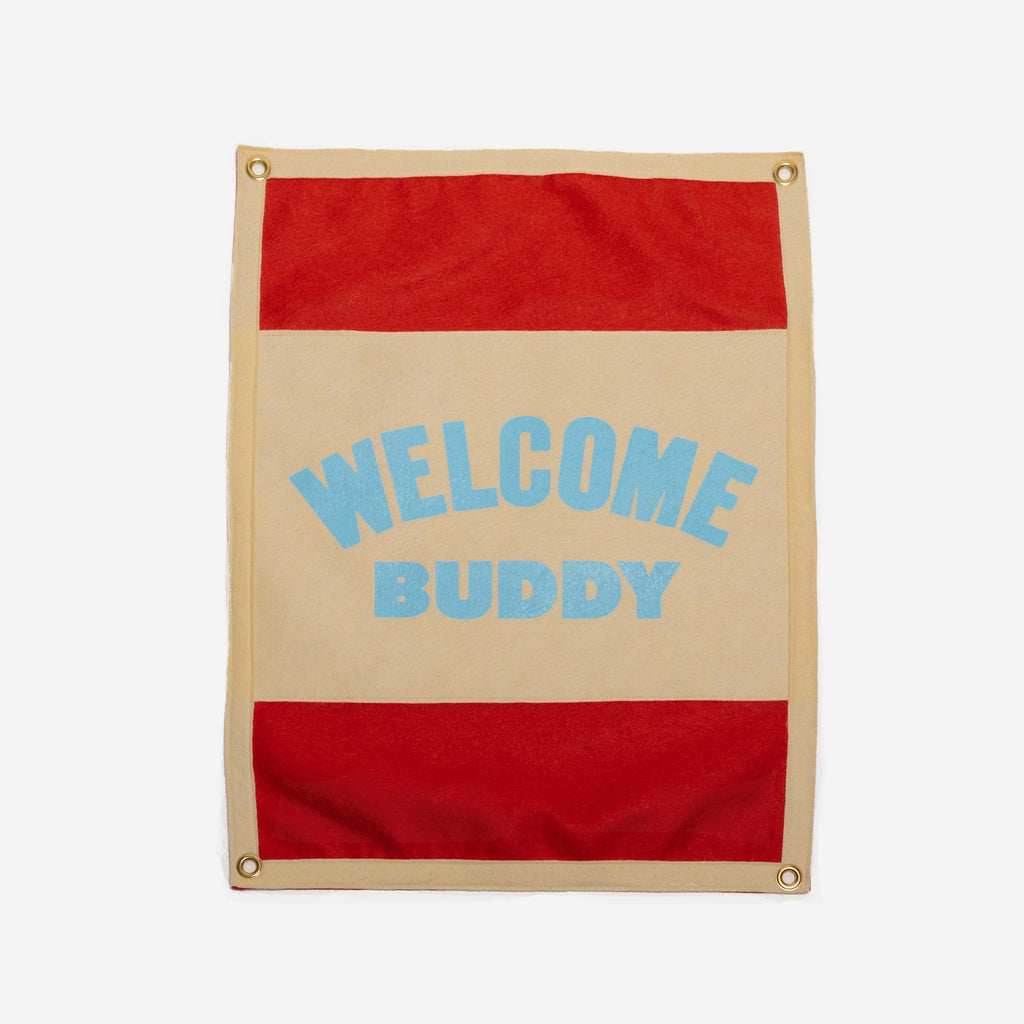 Oxford Pennant - Oxford Pennant Hello Buddy Camp Flag - Habitat - Decor - Artwork Wall Hanging - Modern Anthology-