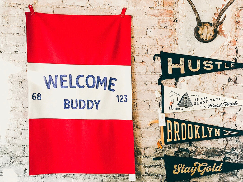b blakely customs welcome buddy banner home decor artwork print