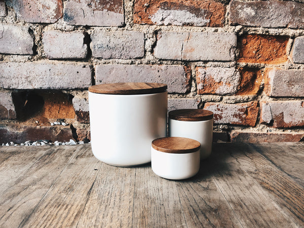 Be Home - Stoneware Container with Acacia Lid - OFFICE - Office Accessory - ContainerTray - Modern Anthology-