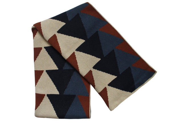 Happy Habitat - Stacked Triangle Throw Cobalt/Slate - BEDBATH - Blanket - Throw Blanket - Modern Anthology-