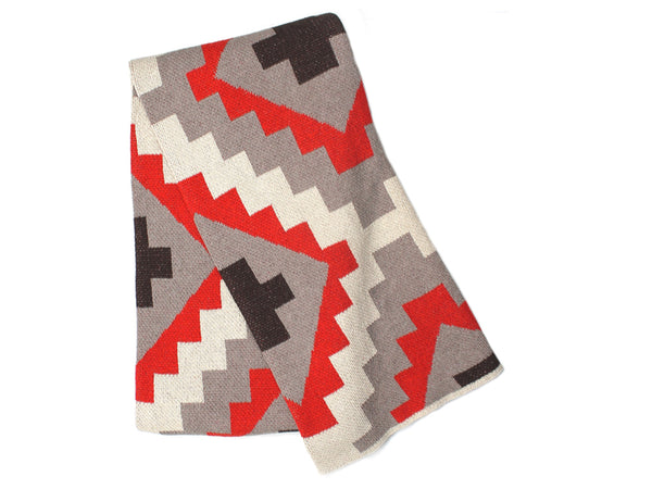 Happy Habitat - Kilim Throw Red Tan - BEDBATH - Blanket - Throw Blanket - Modern Anthology-